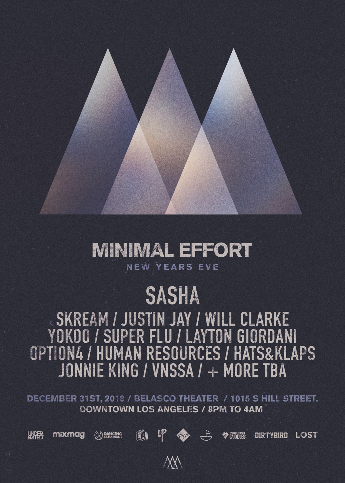 Minimal Effort Announces Lineup for New Year's Eve Event at Los Angeles' Belasco Theater