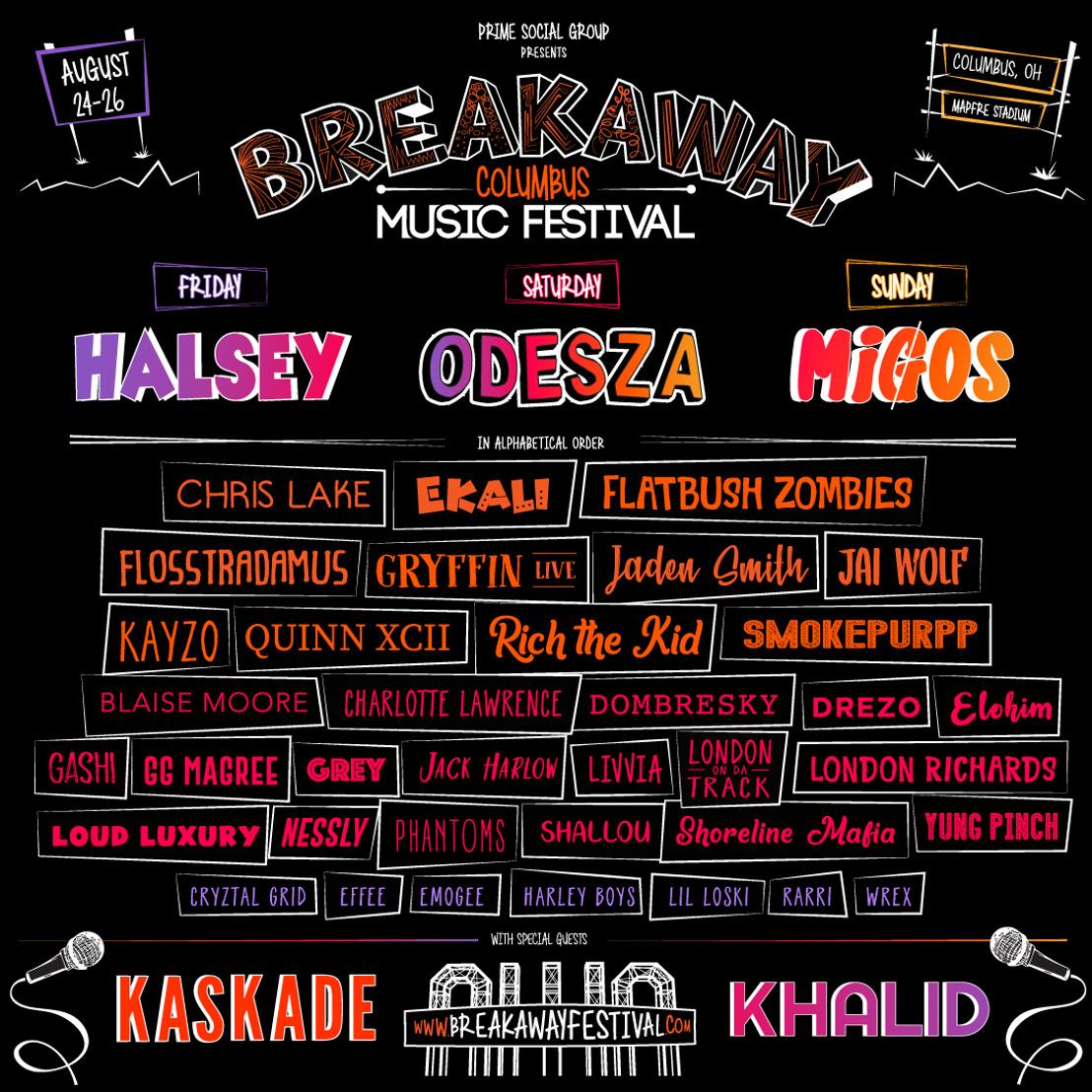 Prime Social Group Announces Lineups for their Breakaway Music Festival in Columbus & Grand Rapids