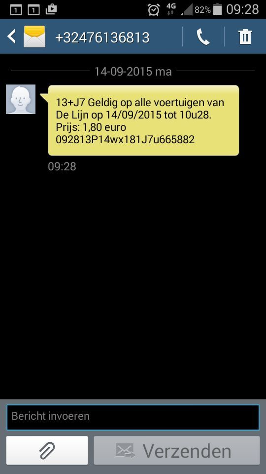 Een aangevraagd sms-ticket, geldig voor 60 minuten onbeperkt overstappen.
