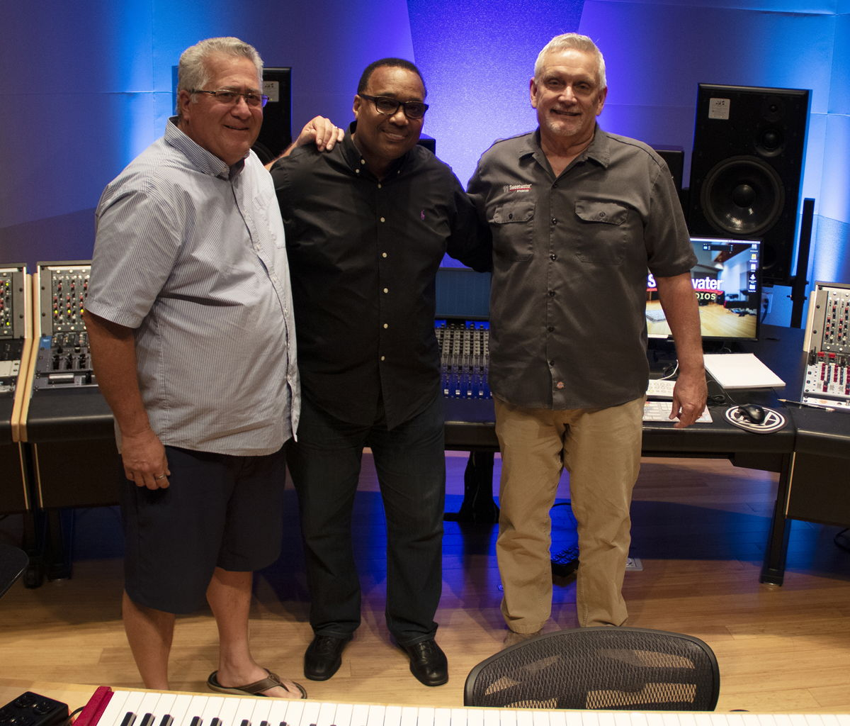 Kevin Wood, Michael McCowin, and Sweetwater Studios Producer/Keyboardist Phil Naish - Photo by Aaron Steele
