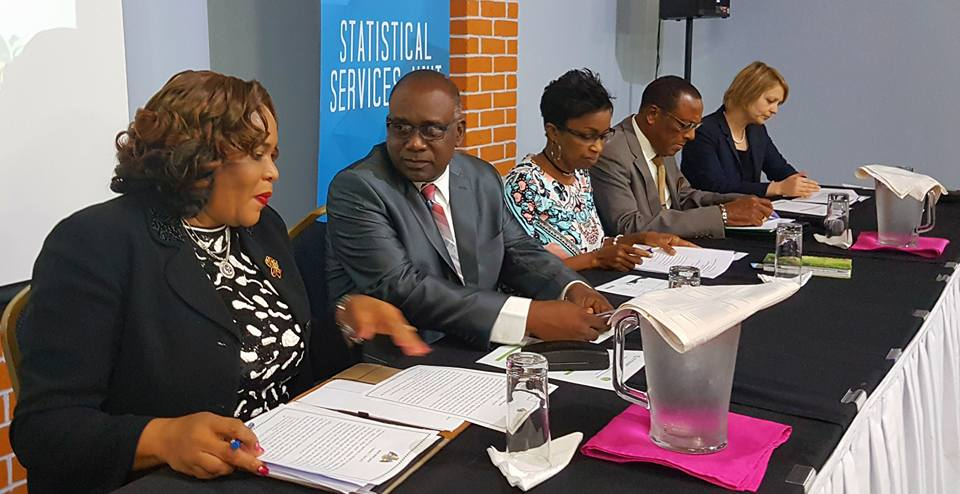 Head table at the OECS RSDS Launch (L-R Mrs. Gloria Joseph, Permanent Secretary in the Ministry of Planning, Economic Development and Investment in Dominica; Hon. Oliver Joseph, Minister of Economic Development, Trade, Planning, Cooperatives and International Business in Grenada; Dr. Gale Archibald, Head of the Statistical Services Unit at the OECS Commission; H.E. Sydney Osbourne, OECS Commissioner and CARICOM Ambassador for St. Kitts and Nevis; and Ms. Yevgniya Savchenko, Economist at the World Bank.