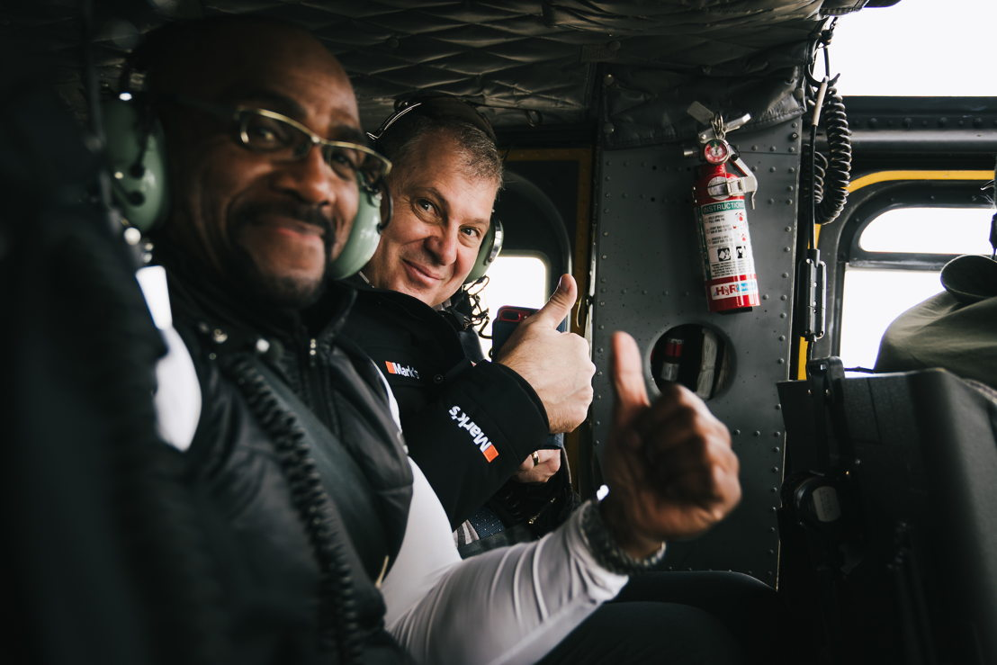 "Henry ""Gizmo"" Williams and Commissioner Randy Ambrosie in the military helicopter with the Grey Cup. Photo credit: Johany Jutras/CFL.ca"