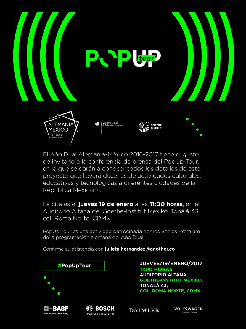 Invitación conferencia de prensa PopUp Tour