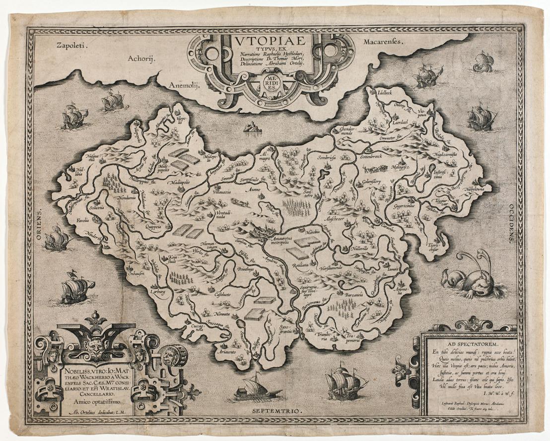 Unieke kaart 'Utopia' van Ortelius nu in collectie Koning Boudewijnstichting