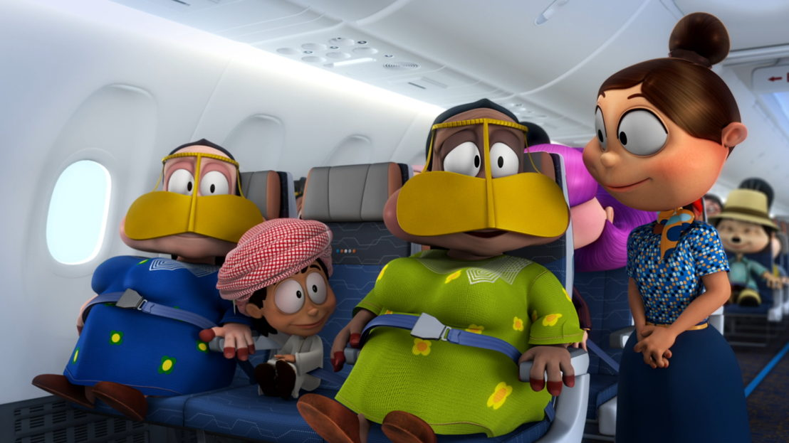 Cabin Crew member, Maya, and characters from the popular FREEJ cartoon series in a still from flydubai's MAX safety video