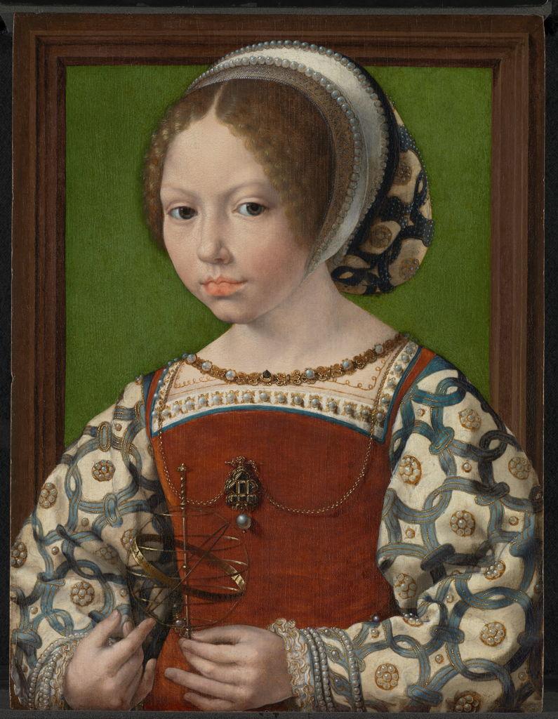 'Op zoek naar Utopia' © Jan Gossaert, Portret van een jonge prinses met armillarium, c. 1530. The National Gallery, Londen