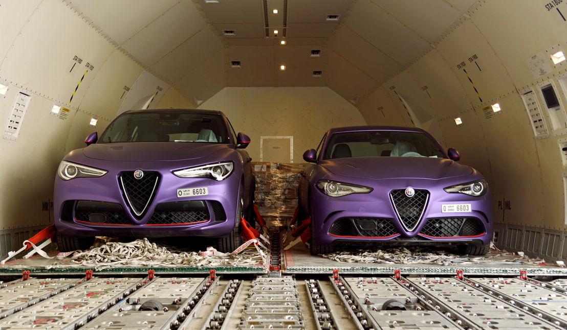 An Alfa Romeo Stelvio Quadrifoglio and an Alfa Romeo Giulia Quadrifoglio were transported onboard an Emirates SkyCargo Boeing 777 freighter