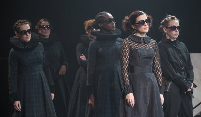 A scene from Twelfth Night with Phoebe Fox as Olivia -second from right - pic by Mark Brenner