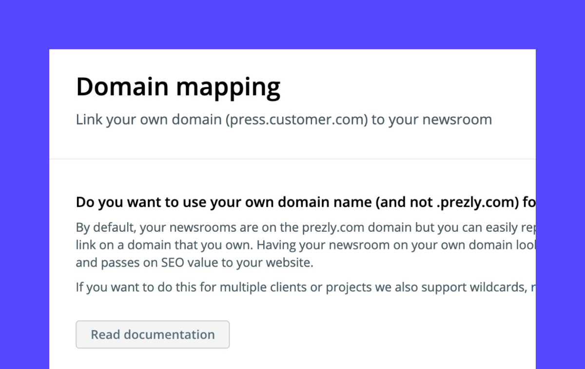 Setting up a custom domain