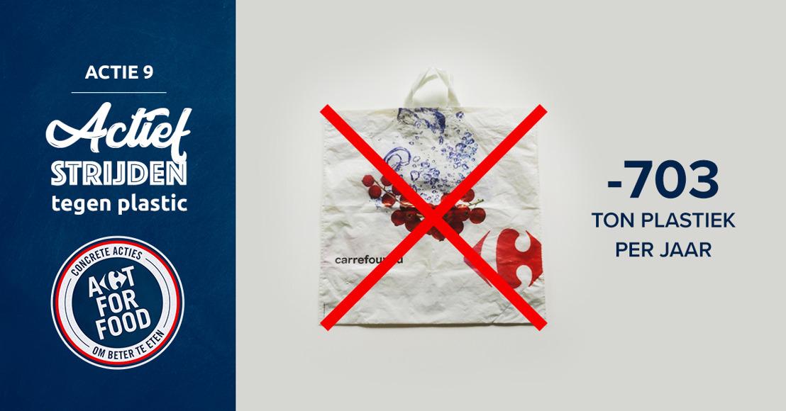 Carrefour vermindert het gebruik van plastic met 703 ton per jaar door de verkoop van plastic zakken aan de kassa stop te zetten