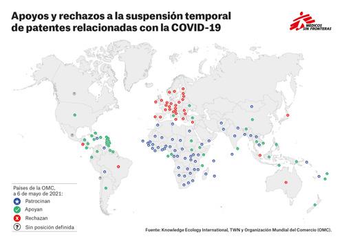 MSF pide al Gobierno de España que se sume al clamor internacional y apoye con hechos la suspensión de las patentes COVID-19