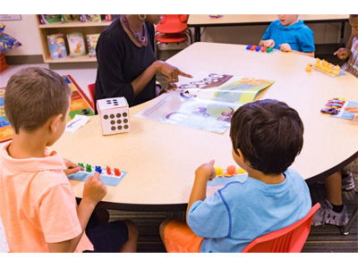 Students use manipulative and 3-D objects to learn math facts