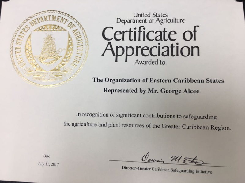 Certificate of Appreciation awarded by the US Department of Agriculture to the OECS