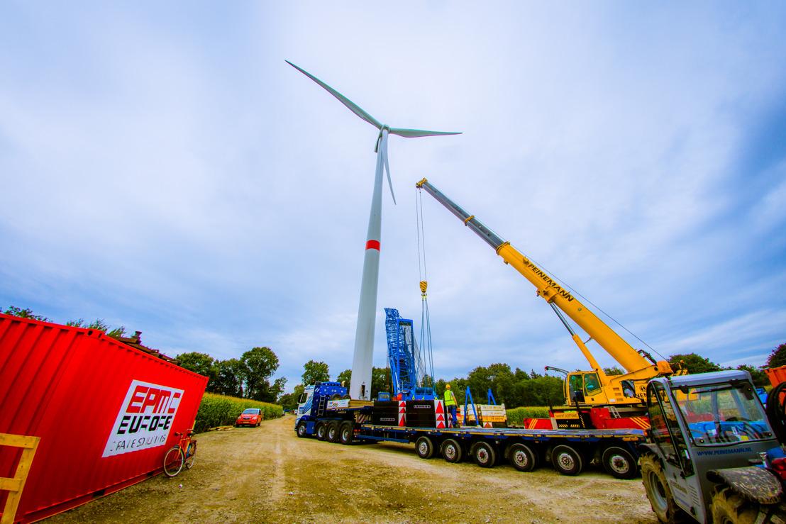 Bouw windturbines windpark Storm in Geel op volle toeren
