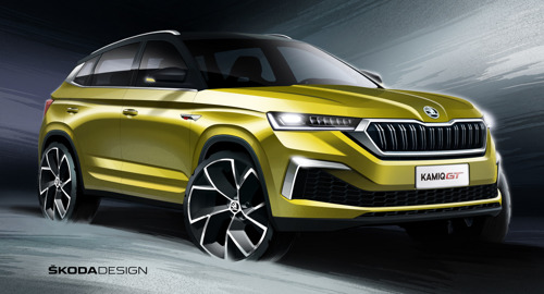 ŠKODA releases design sketches of new KAMIQ GT SUV coupé for China