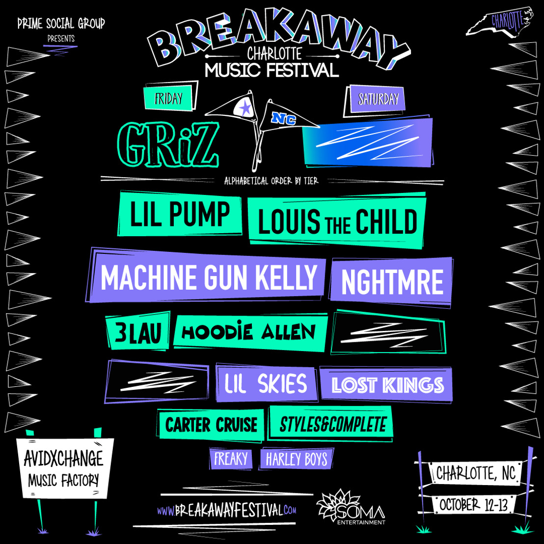 Prime Social Group Announces the Highly Anticipated Phase One Lineup for Breakaway Music Festival in Charlotte, NC