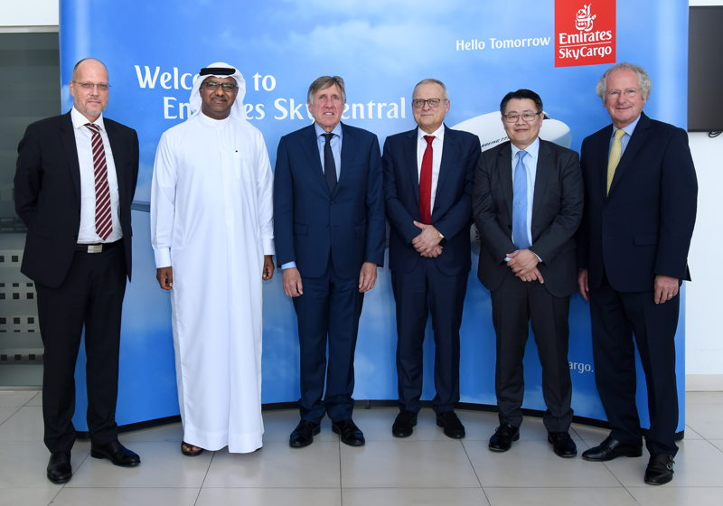 A senior delegation from Luxembourg visited the Emirates SkyCargo's facilities (From left to right) Henrik Ambak, Emirates SVP, Cargo Operations Worldwide; Nabil Sultan, Emirates DSVP, Cargo, Francois Bausch, Minister of Sustainable Development and Infrastructure, Luxembourg; Tom Weisgerber, First Counsellor, Ministry of Infrastructure and Sustainable Development, Luxembourg; Richard Forson, CEO, Cargolux Airlines and Paul Helminger, Chairman of the Board, Cargolux Airlines