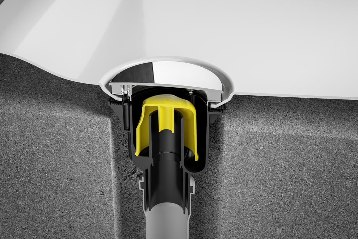 Le nouveau siphon Tempoplex pour receveurs de douche avec orifice de 90 mm est muni d'un tuyau d'évacuation de 50/40 mm de diamètre. Il respecte le code de couleur Viega, pour une installation simplifiée: les parties mobiles de l'installation sont jaunes, les éléments fixes sont anthracite.