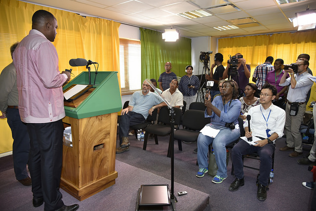UN Secretary-General and Prime Minister of Dominica hold a joint press briefing.