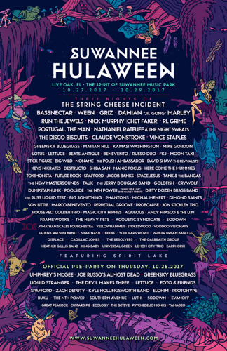 Suwannee Hulaween Announces Phase 2 Lineup for October 27-29 2017 Event at The Spirit of the Suwannee Music Park in Live Oak, Florida