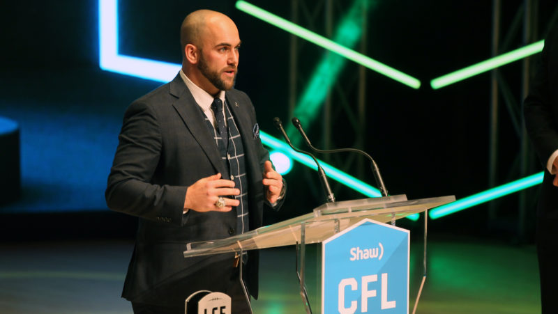 Ryan King, recipient of the CFLPA's Tom Pate Memorial Award. Photo credit: Dave Chidley/CFL.ca