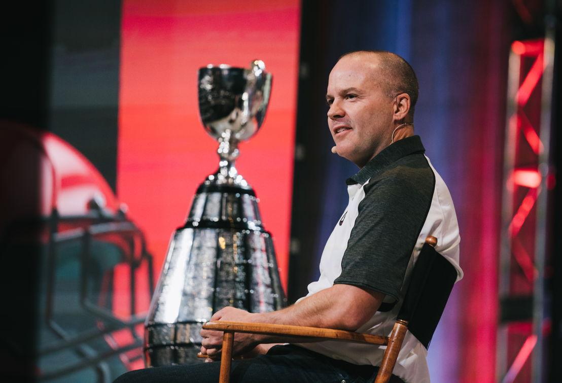 Rick Campbell, lors de la conférence de presse de la Coupe Grey. Crédits photo : Johany Jutras/LCF.ca
