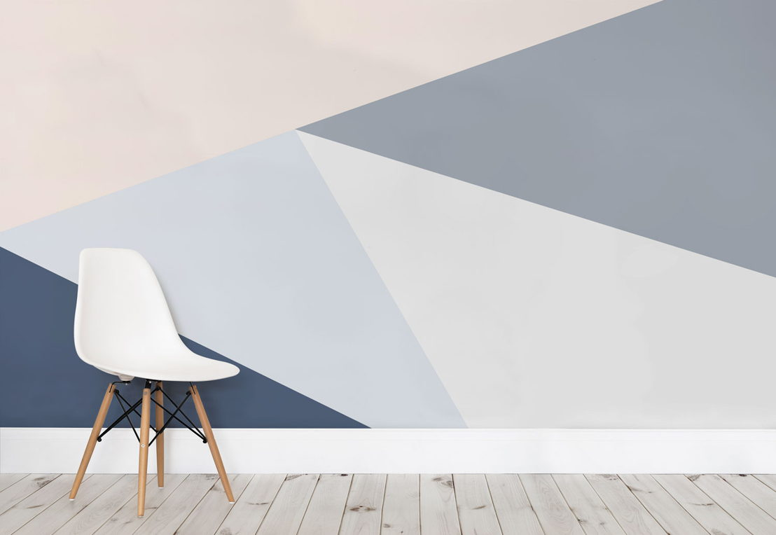 Blue Oversized Geometric Wall Mural