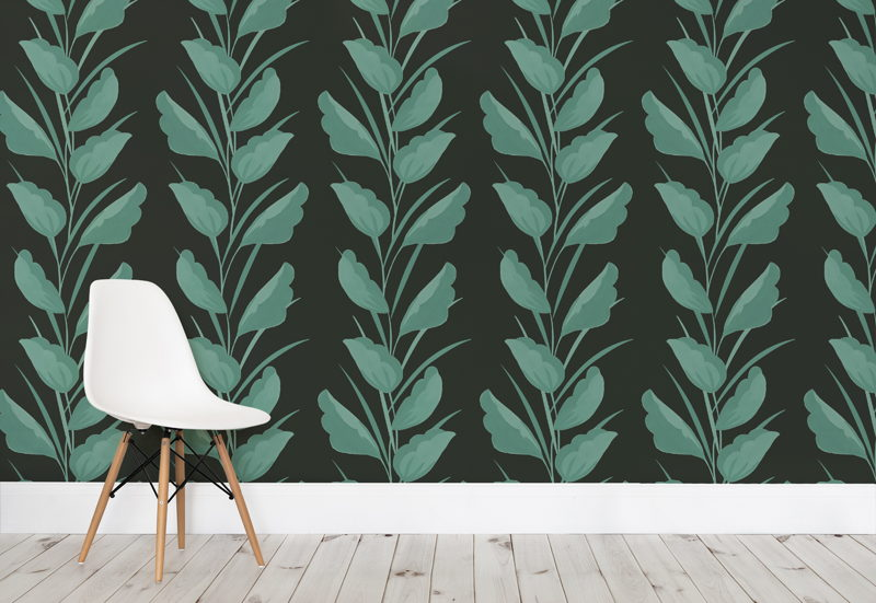 Green Painted Leaves Wallpaper Mural