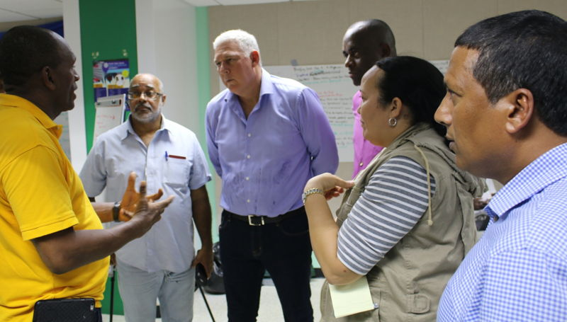 Prime Minister Chastanet, Prime Minister Skerrit and Dr. Didacus Jules meet with disaster management officials.