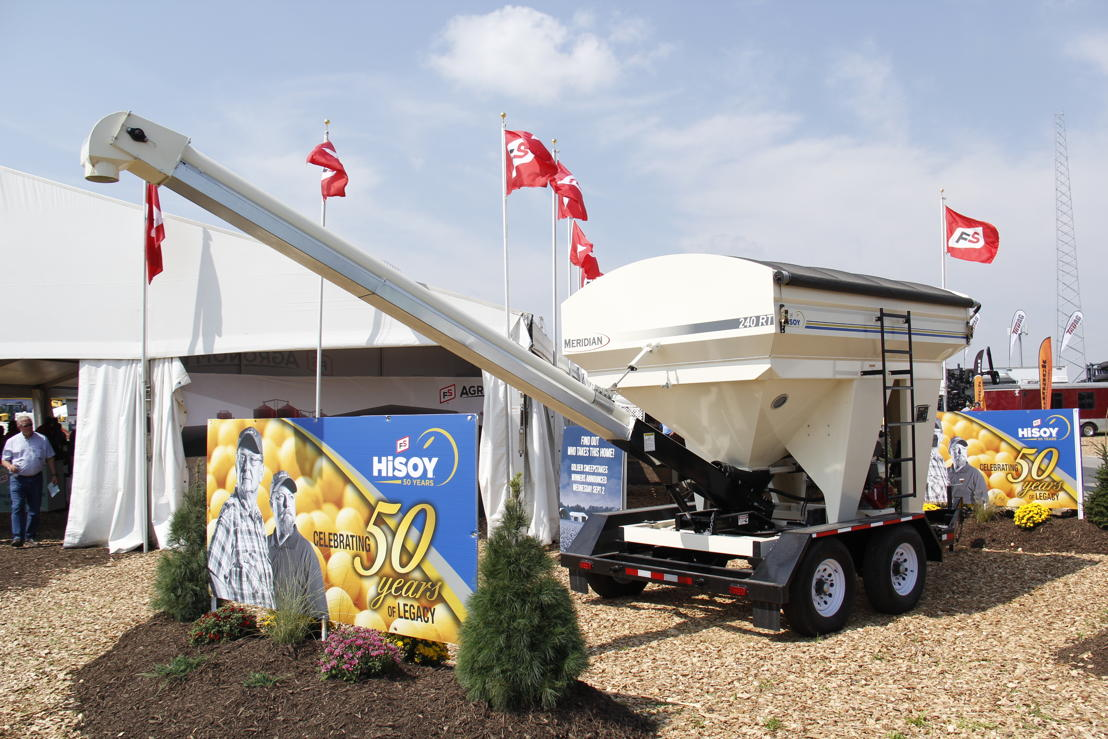 The HiSOY 50th Anniversary seed tender, presented to the winners of the HiSOY Golden Anniversary Sweepstakes, was on display outside the FS tent at the Farm Progress Show.