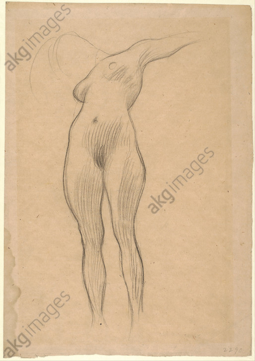 "Floating Woman with Outstretched Arm (Study for ""Medicine""), 1900–1901. Drawing. Black chalk on brown paper. <br/>Location: Albertina, Vienna<br/><br/>AKG5974638"