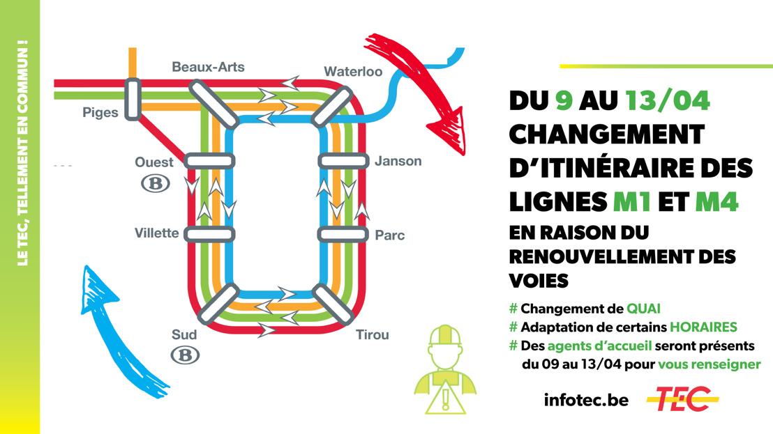 Du 9 au 13 avril, circulation inversée des lignes M1 et M4.