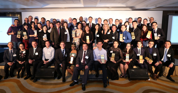 Cathay Pacific Chief Executive Ivan Chu and members of the airlines' senior management join the winners on stage at last night's Niki and Betsy Awards