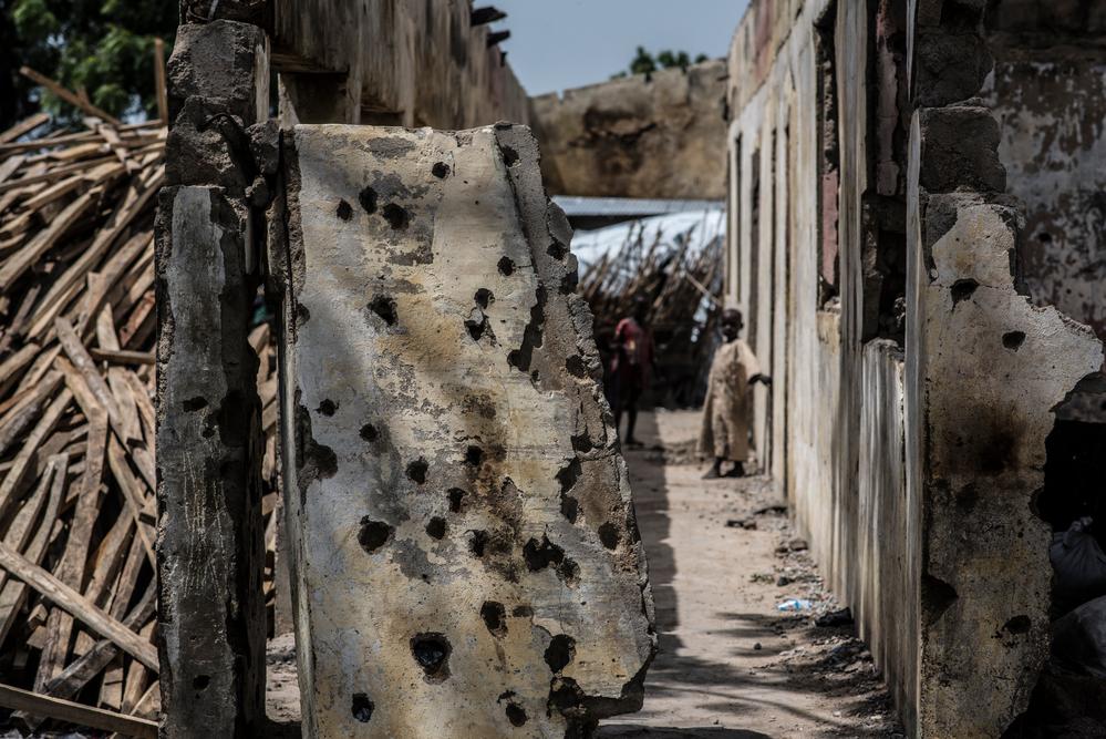 Impact of bomb blast on buildings in Rann. Photographer: Sylvain Cherkaoui/COSMOS