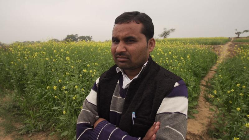 Farmer Brijmohan, who was bashed by the sand mafia