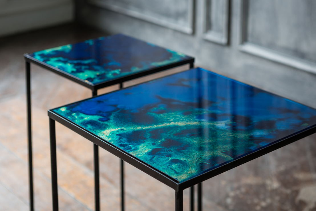 Compact Side Tables - Midnight Crush Organic Glass