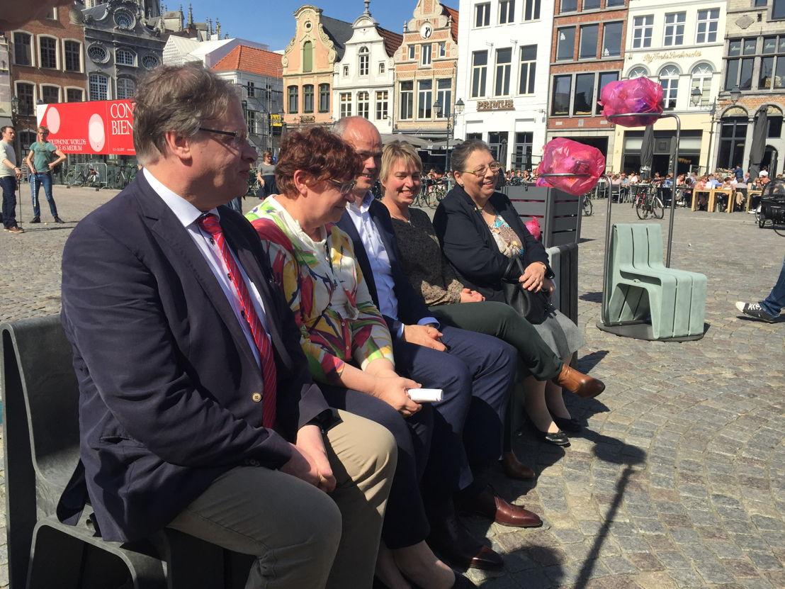 Minister Schauvliege, Koen Verhaert (ECO-oh!), Rita Van den Bossche (IVAREM), Marina De Bie (Mechelse schepen van Leefmilieu), Chris Backx (Mechelse schepen van Openbare Werken)