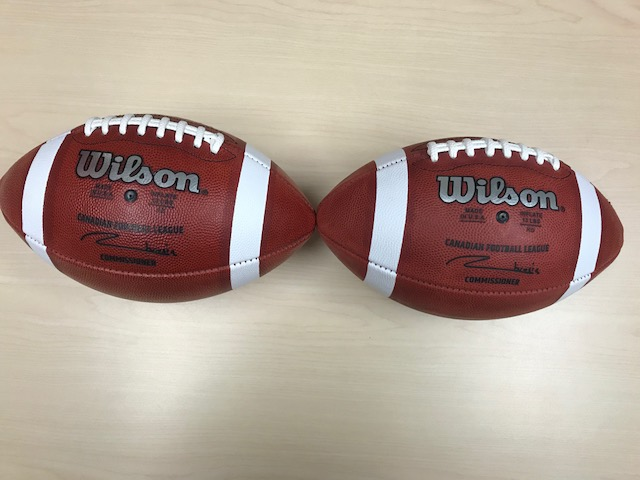 New CFL football (left) compared to old CFL football (right).