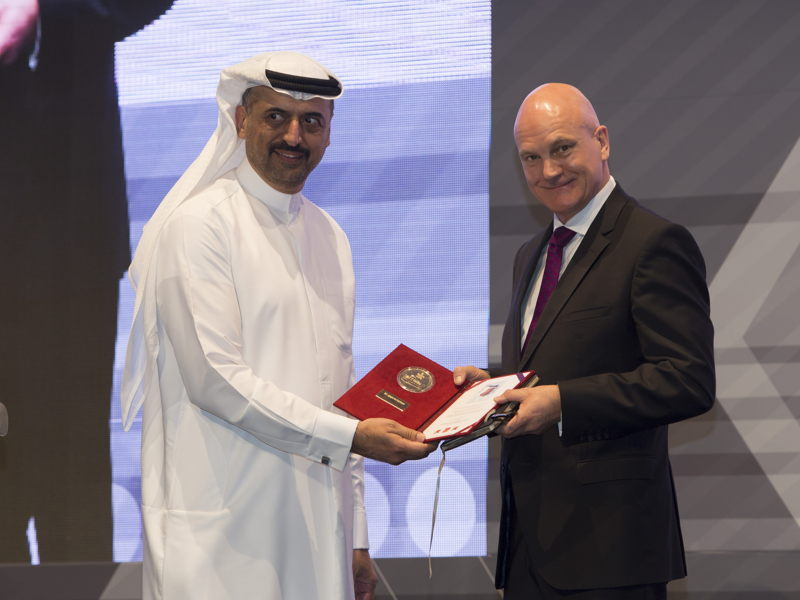 Paul Broadbent, CEO, The Gangmasters & Labour Abuse Authority UK presenting a certificate of recognition to Dr Abdulla Al Hashimi, Divisional Senior Vice President, Emirates Group Security