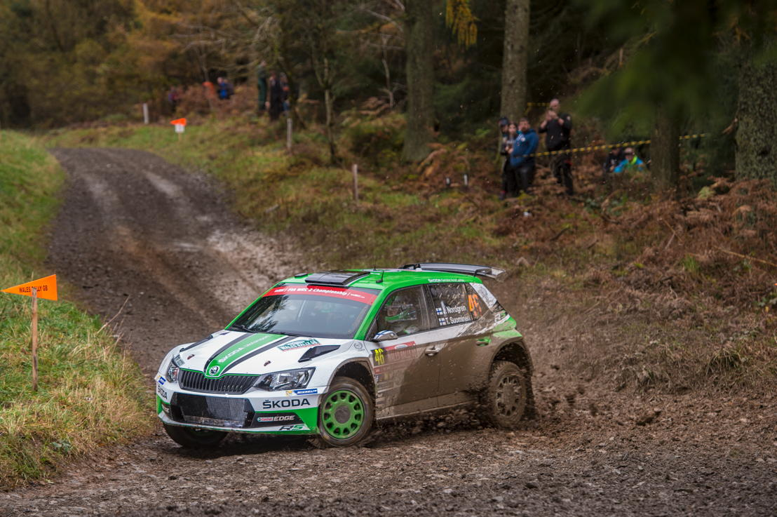 Finns Juuso Nordgren and co-driver Tapio Suominen (ŠKODA FABIA R5) finished fifth on their first attempt at Wales Rally GB