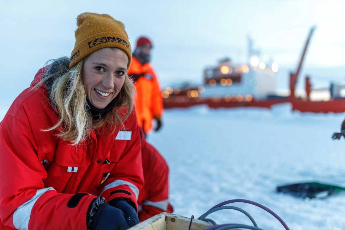 Friederike Krüger was on board the Akademik Federov to report on the climate research of the MOSAiC expedition  (© Mario Hoppmann)