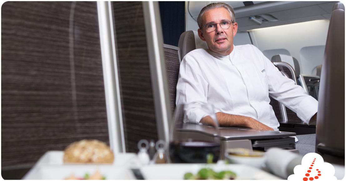 Peter Goossens (Hof van Cleve***) creates meals  for Brussels Airlines