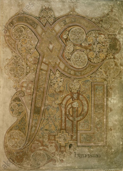 """""""Book of Kells"""". Page bearing ornate initial """"L"""".<br/>8th century<br/>Dublin, Trinity College.<br/>AKG45410"""