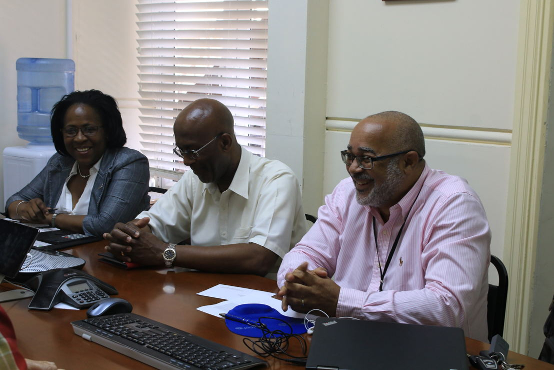 From Left to right: Mrs Josette Edward-Charlemagne Programme Officer, OECS Social & Sustainable Development Division, Ambassador Anthony Severin, Head of International Relations Unit and Dr Didacus Jules, Director of the OECS Commission