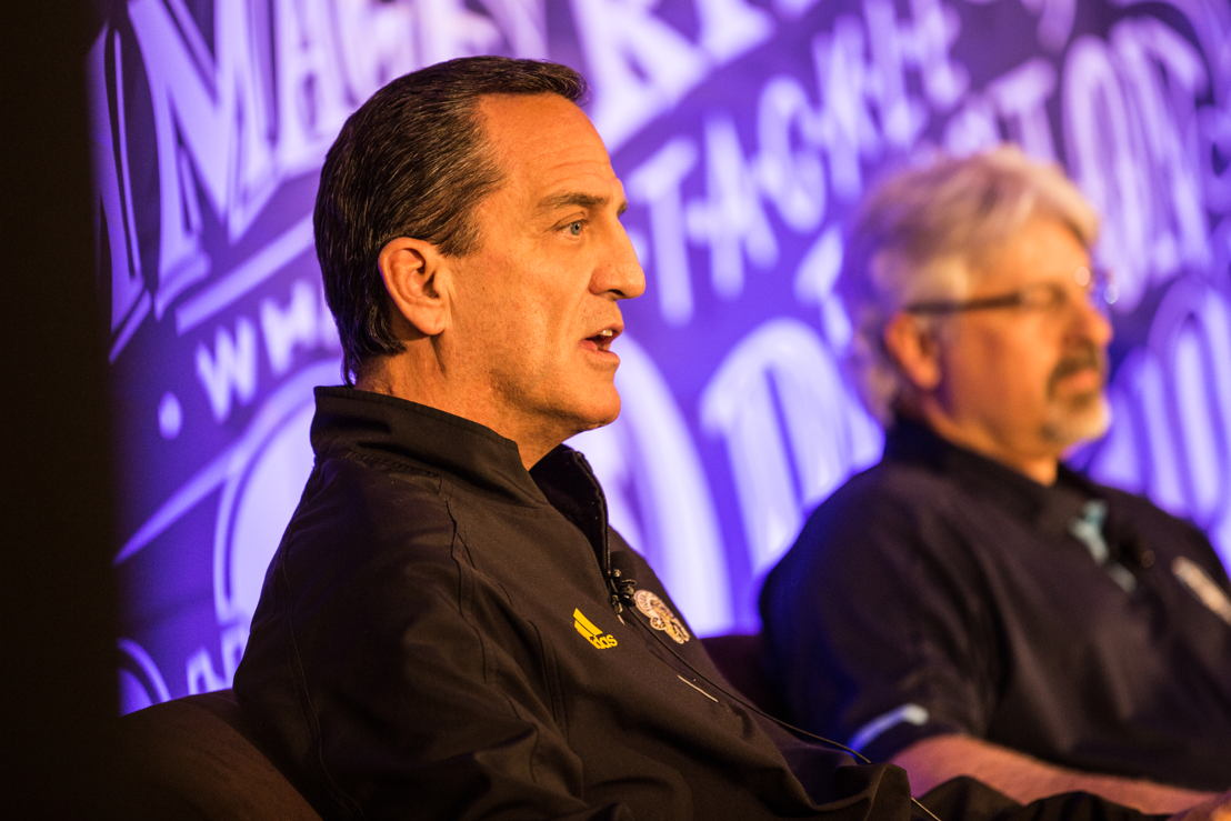 L>R: Kent Austin and Jim Popp answer questions from the media at Mark's CFL Week. Photo credit: CFL.ca/Reid Valmestad