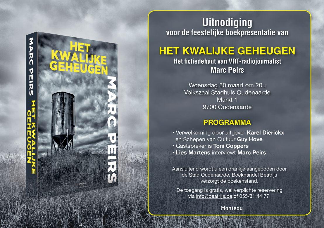Uitnodiging boekvoorstelling 'Het kwalijke geheugen' op 30 maart