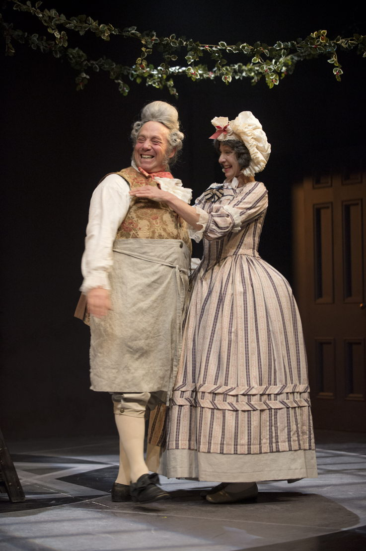 Brian Linds (Mr. Fezziwig) and Jan Wood (Mrs. Fezziwig) in A Christmas Carol / Photo by David Cooper