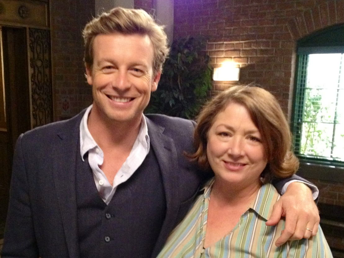 "Simon Baker and Maggie Egan on the set of ""The Mentalist."""