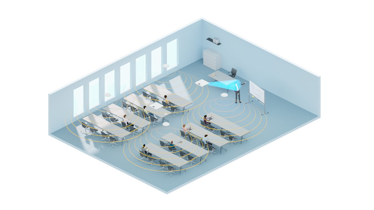 A ceiling microphone in a voice lift system ensures touchless operation and added convenience for the lecturer