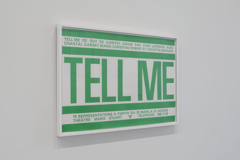 Tell Me (poster), 1979/1980   Courtesy Centre Pompidou, Paris<br/>Musée national d'art moderne / Centre de création<br/>industrielle , foto (c) Isabelle Arthuis